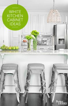 You can't go wrong with white cabinets.  See beautiful white cabinet inspiration here: