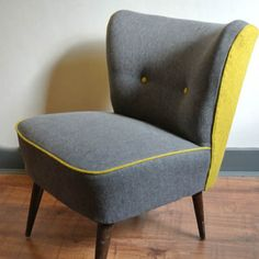 Lovely pair of 50s cocktail chairs re-upholstered in grey with contrasting lime Kvadrat wool felt on the back and sides. Buttons & piping also picked out in the lime felt. undefined