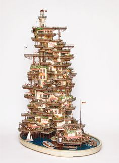 Bonsai Tree Lighthouse Village by  Takanori Aiba