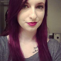 New hair, mixed half manic panic vampire red, and half purple haze