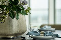 Dining table styling detail - spring flowers and foliage, blue linen Neutral Color Scheme, Color Schemes, Study In London, Stones Throw, Pent House, Dark Wood, Spring Flowers, Shades Of Blue, Natural Light