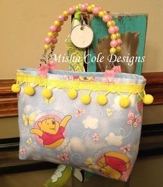 Light Blue Winnie Pooh Purse with Ribbon Trim by mishacoledesigns, $10.00