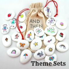 Image of Story Stones - AND THEN - Sets. Kids can use the images on the stones to tell a story.