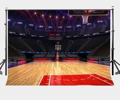 7x5ft Bright Indoor Basketball Court Backdrop Empty Basketball Games Court 7x5ft Backdrop Basketba In 2020 Indoor Basketball Court Indoor Basketball Basketball Court
