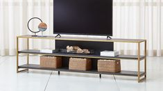 """Oxford 100"""" Black Wood Media Console 