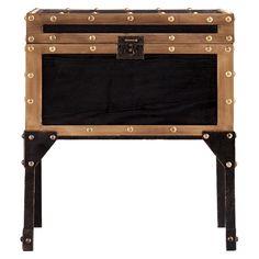Mason Trunk End Table Metal/Brown - Southern Enterprises