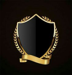 Free art print of Black Shield and Silver Ribbon Design Retro, Graphisches Design, Graphic Design Art, Education Logo Design, 3d Cnc, Game Logo Design, Anniversary Logo, Logo Creation, Shield Logo