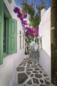 Cycladic alley in Paros, Cyclades, Greece Beautiful Places To Travel, Wonderful Places, Paros Greece, New Retro Wave, Greece Islands, Bougainvillea, Travel Aesthetic, Greece Travel, Mykonos