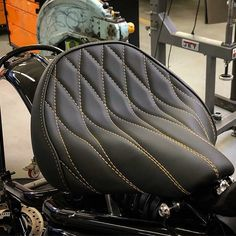 Visit several of my most favorite builds - custom-made scrambler designs like this Motorcycle Seats, Motorcycle Leather, Bike Seat, Automotive Upholstery, Car Upholstery, Concept Motorcycles, Custom Motorcycles, Harley Davidson Chopper, Harley Davidson Motorcycles