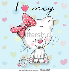 Cute cartoon White kitten on a blue background