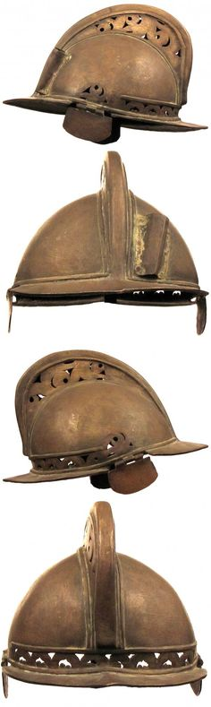 Moro (Philippine) helmet of classic form 2nd half of the 19th century, showing European influence throughout with domed skull and pronounced comb with pierced scrollwork, peak and neckguard, the rectangular ear plates and plume tube separately applied, 20 cm high.