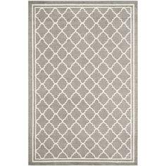 Safavieh Indoor/ Outdoor Amherst Dark Grey/ Beige Rug (8' x 10') - 8' x 10'
