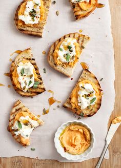 Sweet potato tahini crostini