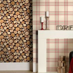 Natural 97710 Rustic Stacked Wood Logs Holden Decor Wallpaper   eBay