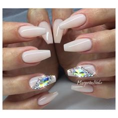Nude coffin nails fall fashion Swarovski bling nail design