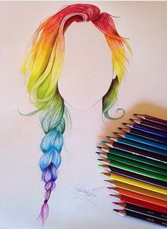 Rainbow hair drawing color hair!! Was so fun to draw. #rainbow #hair #drawing #color                                                                                                                                                                                 More