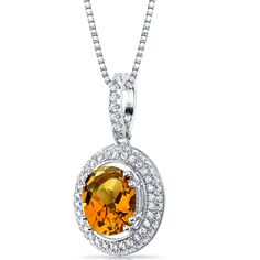 Women's Sterling Silver Pave Halo Orange Padparadscha Sapphire Pendant Necklace