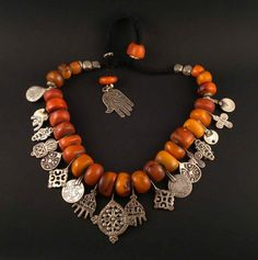 ON HOLD Old Berber amber beads necklace Morocco by ethnicadornment