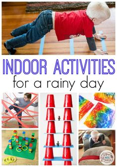 The best indoor activities for a rainy day! These boredom busters a rea perfect way to brighten up a rainy day. Whether you are looking for baby activities, toddler activities, or preschooler activities for a rainy day, these are the easiest and most fun ideas around!