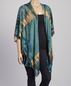 This Blue & Green Tie-Dye Open Cardigan - Plus is perfect! #zulilyfinds