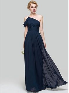A-Line/Princess One-Shoulder Floor-Length Chiffon Bridesmaid Dress With Ruffle (007090199) - JJsHouse