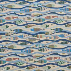 Teal and Blue Marine Nautical Fish in River Water Pattern Woven Brocade Upholstery Fabric
