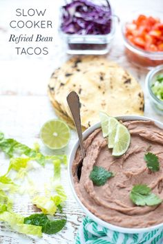 Slow Cooker Refried Bean Tacos recipe. Super fast, so easy and delicious…