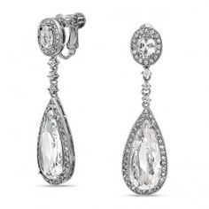Clear Pave CZ Teardrop Bridal Chandelier Clip On Earrings Screw Back...perfect for brides with nonpierced ears