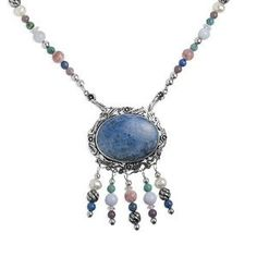 Sterling Silver Denim Lapis Multi-Gemstone Pin/Pendant Necklace (Jewelry)  postteenageliving...