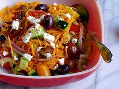 Greek Salad Sweet Potato Spaghetti