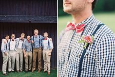 groomsmen in suspenders and plaid shirts