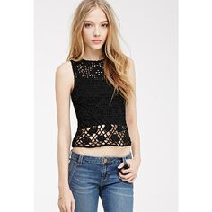 Forever 21 Women's  Open-Crochet Sleeveless Top ($16) ❤ liked on Polyvore featuring tops, forever 21, sleeveless tops, lace bralette top, forever 21 tank tops and crochet tank