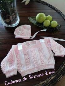 Labores de siempre: Jersey Rosa con moñas + Gorrito para Paula Knitting For Kids, Baby Knitting, Knit Or Crochet, Crochet Baby, Bebe Baby, Baby Cardigan, Baby Dress, Baby Kids, Blanket