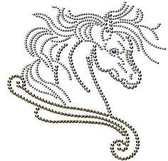 Hot Fix Rhinestone Templates | beautiful horse rhinestone transfers design