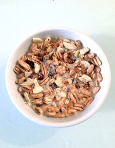 I decided to combine my nutty cranberry quinoa granola, raw rolled oats, puffed kamut, chia seeds and freeze dried bananas. Then I drowned i...