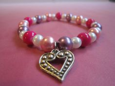 Pewter Heart Charm Bracelet with by BeadazzlingButterfly on Etsy, $12.00