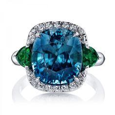 Blue Zircon & Tsavorite Garnet Ring