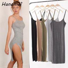 Sexy Split Hem Backless Midi Vestidos Mujer Bodycon Dress Women Summer 2017 Casual Sheath Cotton Robe Femme T Shirt Dresses C144