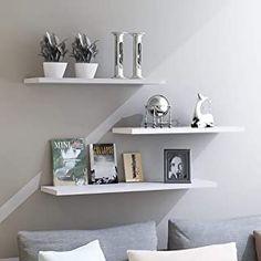 Amazon.com: WELLAND Beveled Display Wall Floating Shelf (White, 10-Inch): Home & Kitchen Wall Mounted Wood Shelves, Ledge Shelf, Rustic Shelves, Hanging Shelves, Display Shelves, Wall Shelves, Decorative Shelves, Wood Wall, Display Wall