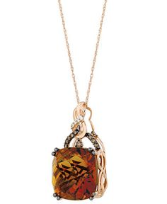 Le Vian Quartz (13-1/2 ct. t.w.) and Diamond (1/6 ct. t.w.) Pendant Necklace in 14k Rose Gold - Necklaces - Jewelry & Watches - Macy's