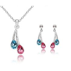 Real White GP Necklace & Earring Set Two Tone Crystal Fashion Jewellery Gift Set
