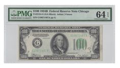 A near-Gem example from this less often seen $100 federal reserve note series that possesses plenty of original embossing, good color, and bright, white paper. A mere 396,000 notes were printed for the Chicago district for this series.