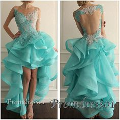 #promdress01 2015 noble lace high low open back prom dress for teens. A elegant gown for your important occasion.
