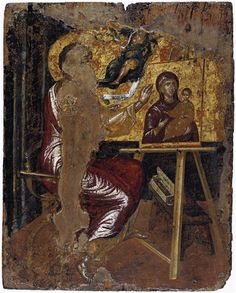 El Greco St Luke Painting the Virgin and Child , 1567 Tempera and gold on canvas attached to panel  41.6 x 33 cm