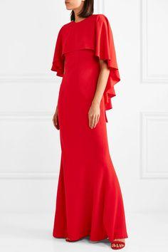 Alexander McQueen | Cape-effect red crepe gown | NET-A-PORTER.COM
