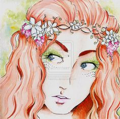 Ireland Experience: Fairies (Culture) by Fabiinhu.deviantart.com on @deviantART #Watercolor #Ink #Drawing #Art #Fairy #RedHead #Dublin #Galway #Ireland #Irish #illustration #drawing #draw #picture #artist #paper #pencil #beautiful #gallery #masterpiece #creative