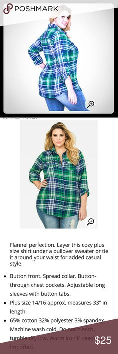 Flannel shirt Brand New with tags No returns Ashley Stewart Tops Button Down Shirts