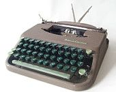 vintage typewriter smith corona skyriter manual typewriter portable carrying case lid two-tone green keys industrial mad men office home
