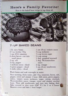 """""""7-Up Baked Beans... does this not say FIFTIES in big fat capital letters all over it? With Reed's ginger beer (and extra fresh grated ginger) and sauteed tempeh bacon instead of pig-based, it'd be a lot more interesting to me, right quick... --- Crescent Dragonwagon, https://www.facebook.com/CrescentDragonwagonFearlessly"""