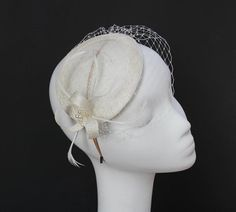 Fascinator Sinamay Ivory with Veil and Feathers via Etsy